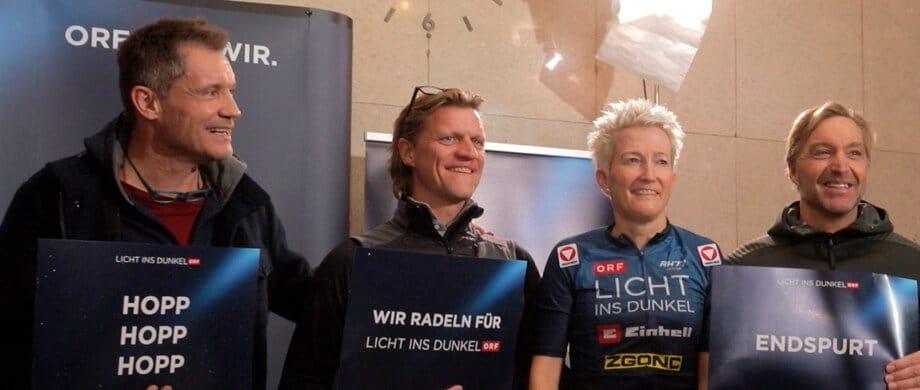 Yvonne Marzinke, Armin Assinger, Hans Knauß und Gery Seidl für Lichts ins Dunkel